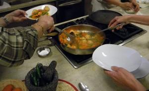 plating the shrimp albondigas