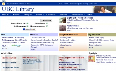 A screenshot of what the UBC online library looks like