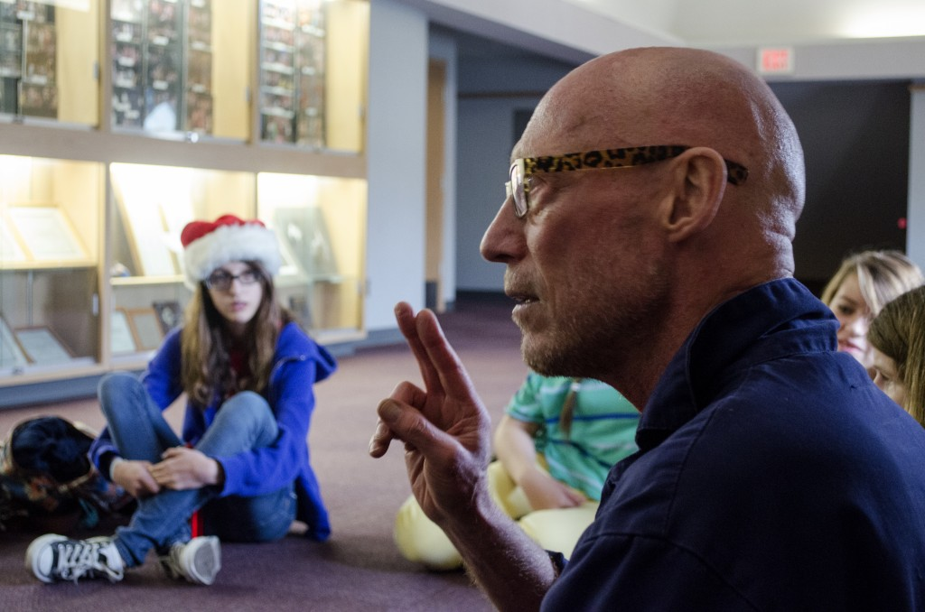 Wallace teaching clowning at a high school in Ladner, B.C. Photo by Carlos Tello