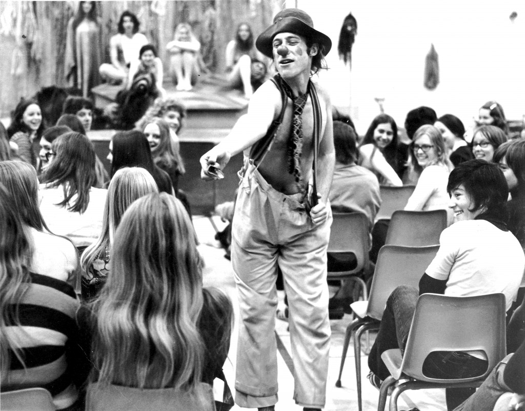 Wallace performing during the Iroquois creation myth play. Photo courtesy of Ian Wallace