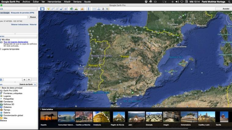 Pantalla principal de Google Earth Pro