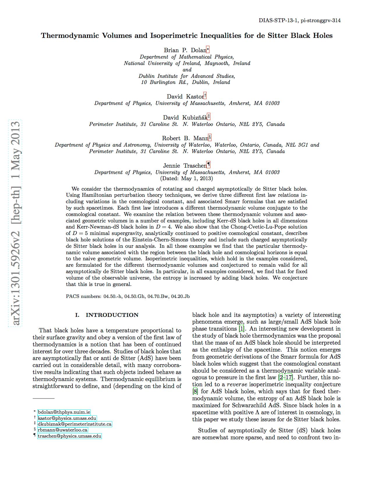 David Kastor Department Of Physics Umass Amherst