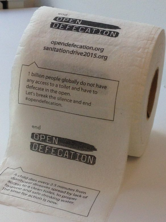 Toilet paper with a special message -- end open defecation