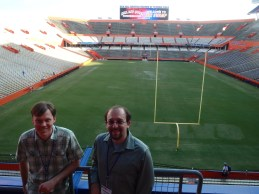 Dr. John Orcutt and Nick Famoso at NAPC 2014 at the University of Florida. Picture from inside The Swamp (UF football stadium)