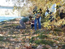 Kristen helping out with a museum camp along the shores of the Willamette River