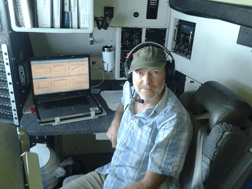 Dan Jaffe in the C130 aircraft, 2013