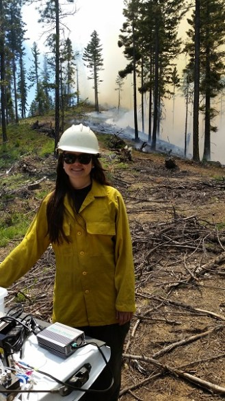 Crystal McClure at controlled burn,CleElum, WA, May 2016