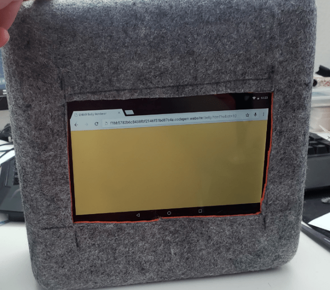 EMAR's belly tablet displays a yellow screen
