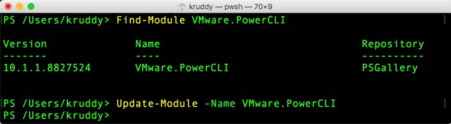 Sample: Update-Module -Name VMware.PowerCLI