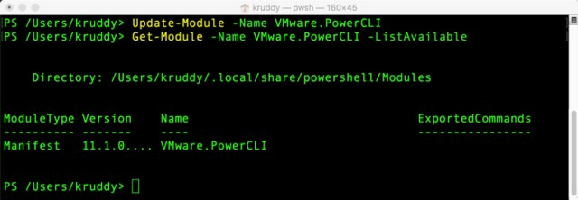 Example: Update-Module -Name VMware.PowerCLI