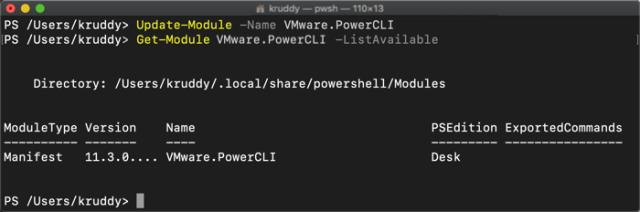 Example: Update-Module -Name VMware.PowerCLI