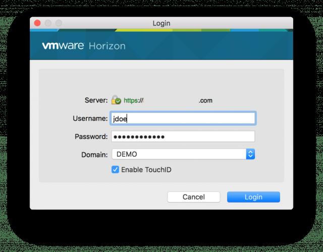 VMware Horizon Client for Mac 4.4_touch bar biometrics