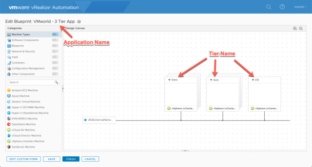 vRealize Automation Application Canvas