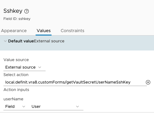 Custom Form Input Configuration - SshKey