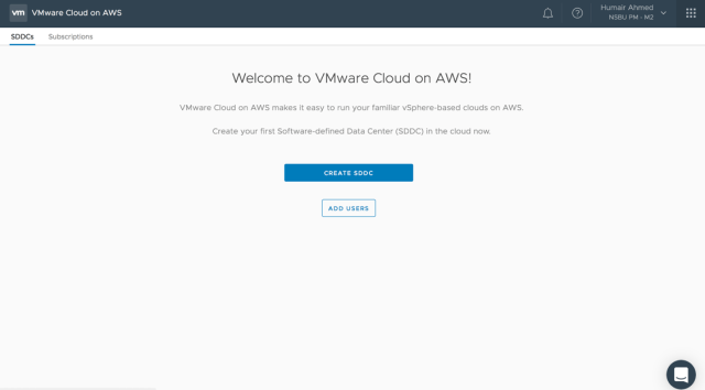 Figure 1: Create SDDC on VMC on AWS