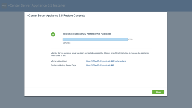 vCenter Server Appliance File-Based Restore 2