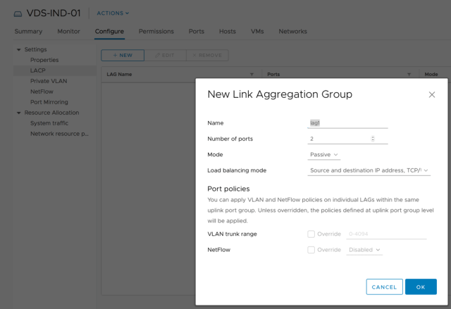 New Link Aggregation Group