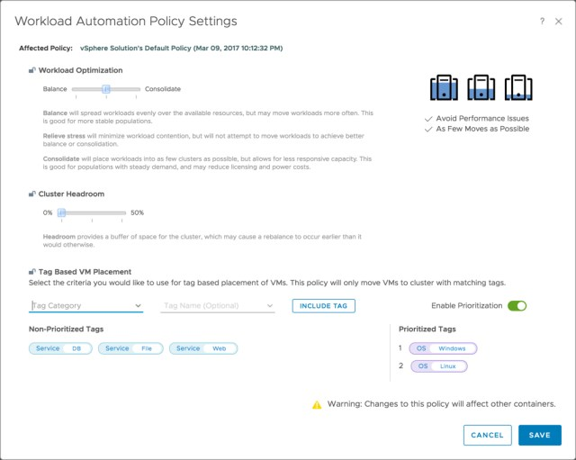 vROps - Workload Automatoin Policy Settings