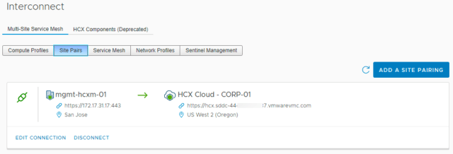 HCX Interconnect Site Pair
