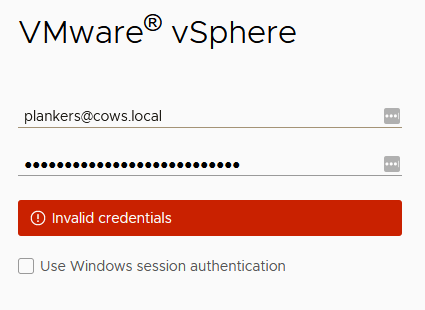 vSphere Login - Invalid Credentials
