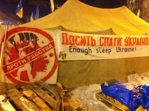 """On a tent in Kyiv's Maidan Square, the symbol, alluding to Moscow, reads: """"Stop Slavery."""" VOA Photo: James Brooke"""