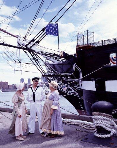 """Old Ironsides"" is still afloat, at the Charlestown Navy Yard near Boston.  (Carol M. Highsmith)"