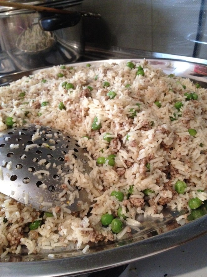 mixing rice and meat