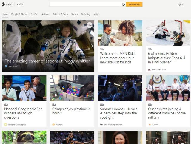 MSN Kids brings curated, kid-friendly news to the web
