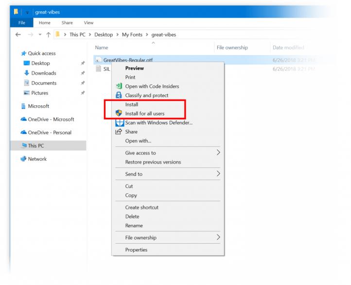 Menu de contexto ao clicar com o botão direito do mouse em uma fonte no explorador de arquivos, mostrando as duas opções descritas acima.