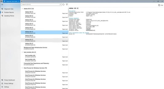 The Diagnostic Data Viewer shows you each Problem Report sent to Microsoft.