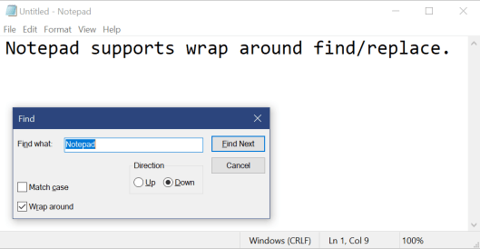 """Showing Notepad with the Find dialog visible, searching for """"Notepad""""."""