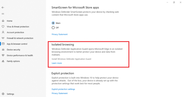 Windows Security app, now in App & Browser control category, Isolated Browsing section highlighted.