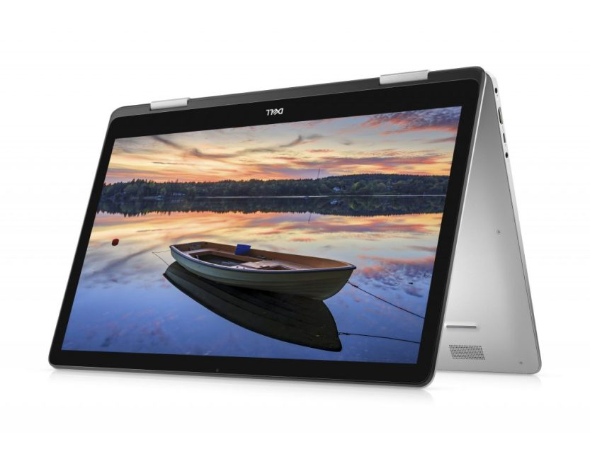 Dell 17 7000 2-in-1, opened up and inverted, showing unmanned boat in the water on the screen
