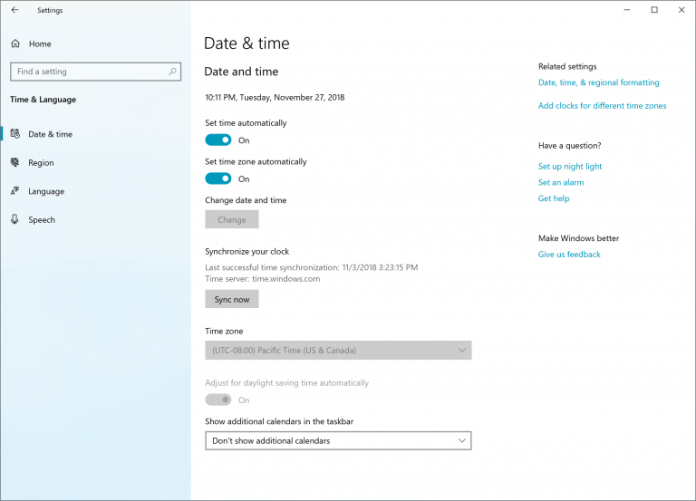 """Date and Time Settings in Settings, with a new entry point called """"Synchronize your clock"""". Shows last successful sync, and time server, as well as a Sync Now button."""