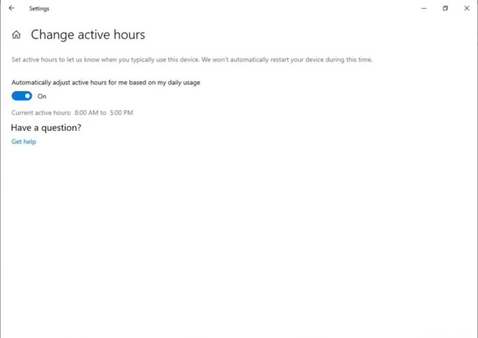 """Showing the """"Change Active Hours"""" page in Settings. Now has a toggle which says """"Automatically adjust active hours for me based on my daily usage."""""""
