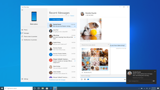 Screen showcasing new messaging features – MMS, unread message indicator, in-line reply
