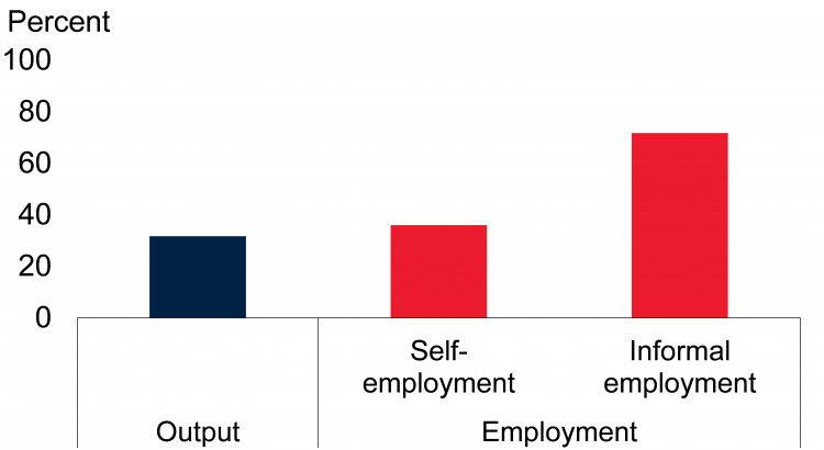 Sources: Elgin et al. (2021); International Labour Organization; World Bank. Note: Output informality is estimated using a dynamic general equilibrium model, shown in percent of official GDP. Informal employment and self-employment are shown as percent of total employment. Bars show unweighted average for latest available year.