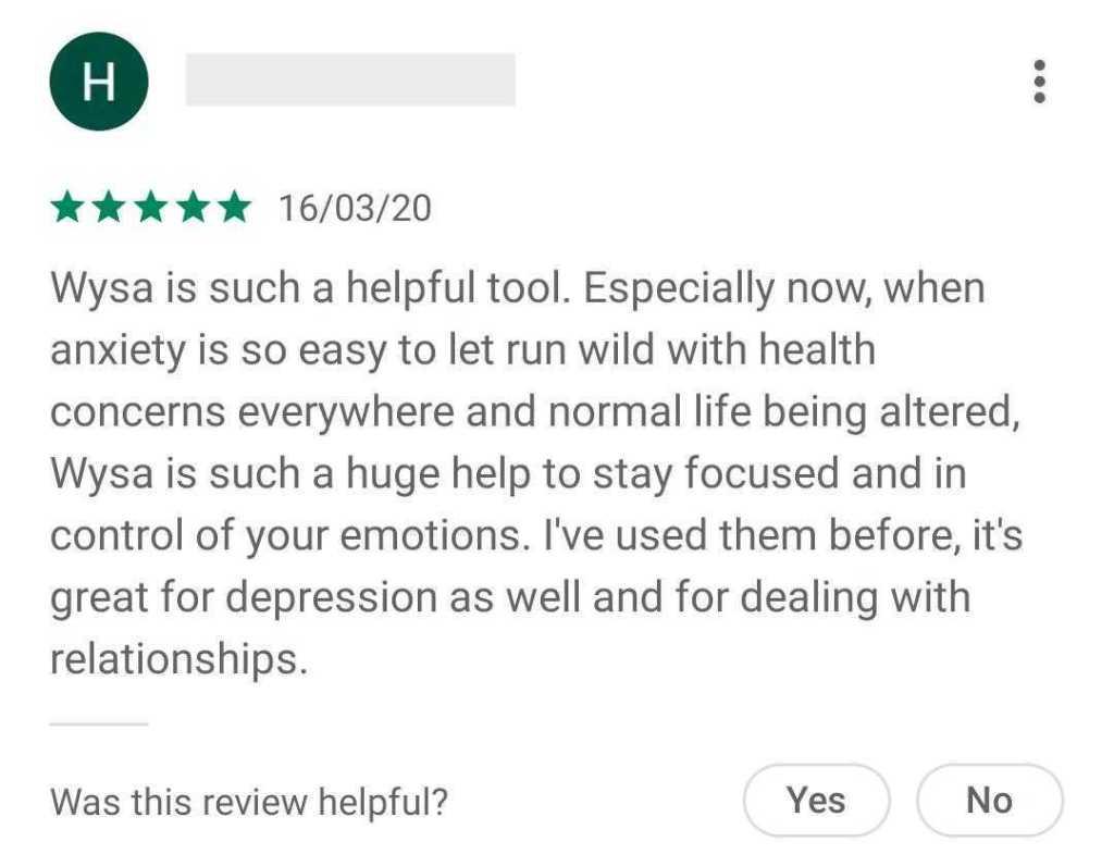 Wysa User Testimonial - COVID