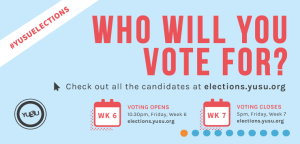 The Student Elections are available for all students to either run for a position or vote for the candidates running.