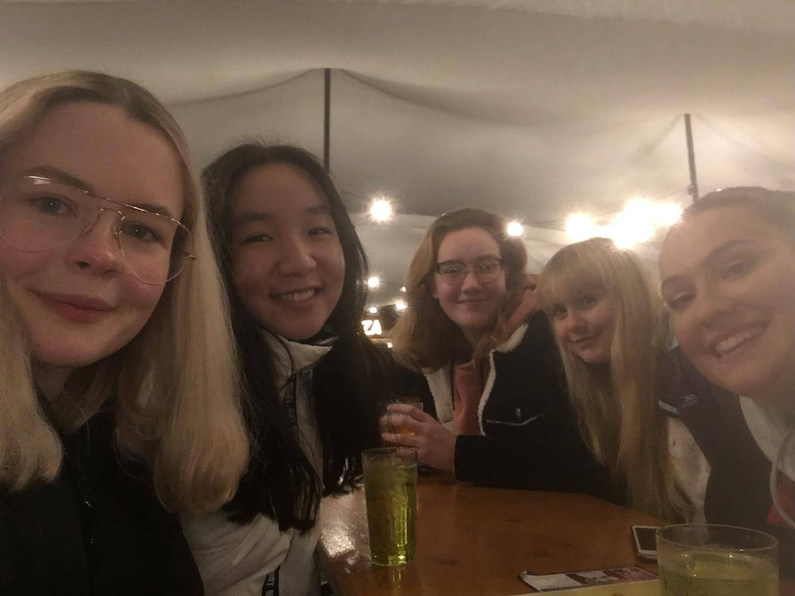University of York students socialising in a Tipi bar on campus
