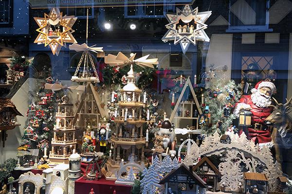 Why I chose York - a Christmas display through a York shop window