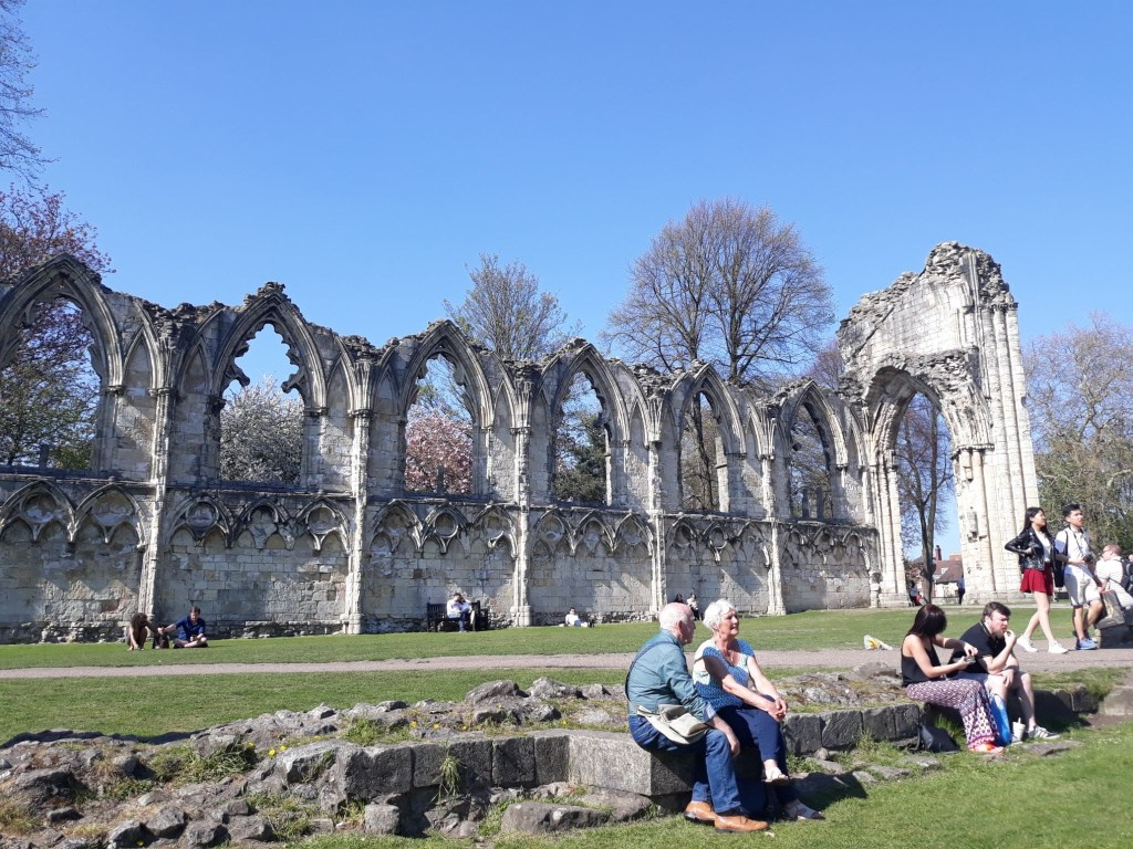 The ruins of St Mary's Abbey in Museum Gardens