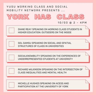 Programme for York Has Class 2021, hosted by the Working Class and Social Mobility Network. Graphic created by last year's Working Class Officer Kate Archer.