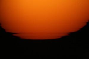 Sunset through solar telescope