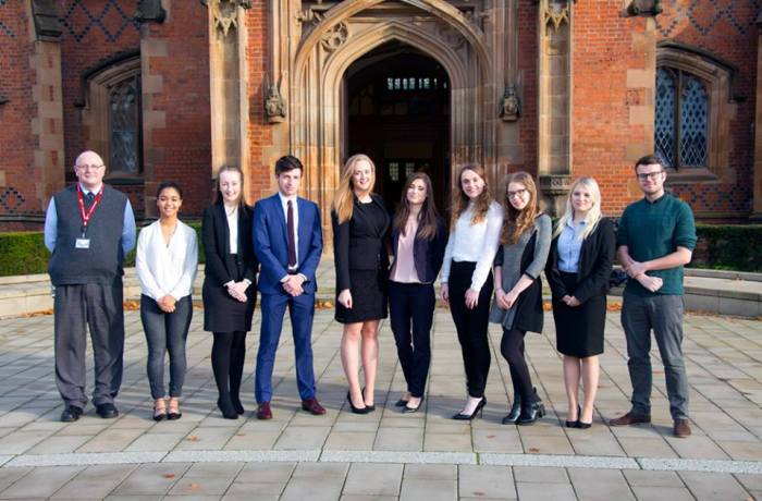 This year's Mooting External Competitions Team Pictured: Dr Stannard, Kiera Oluwunmi, Kellie Morwood, Josh Morrison, Elspeth Venn, Gemma Crane, Alana Hughes, Catriona Lilley, Indy Abrahams, Chris Mallon.