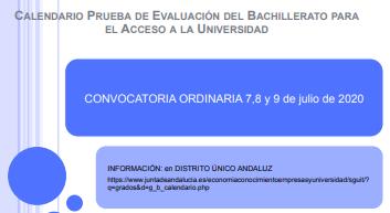 Calendario Prueba de Evaluación del Bachillerato para el Acceso a la Universidad
