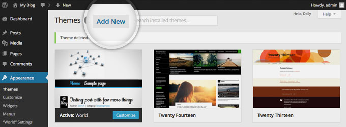 Step 2 Install wordpress theme