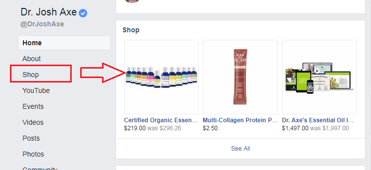 Shop tab on Facebook Pages