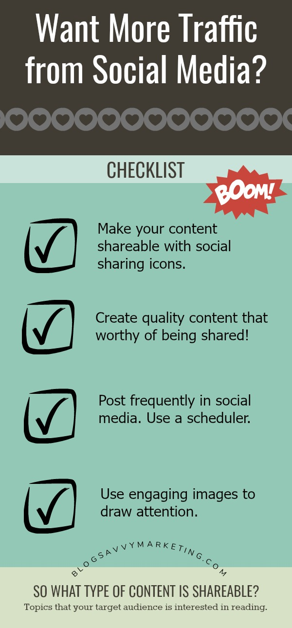 Use free ways to get traffic to your website with social media.