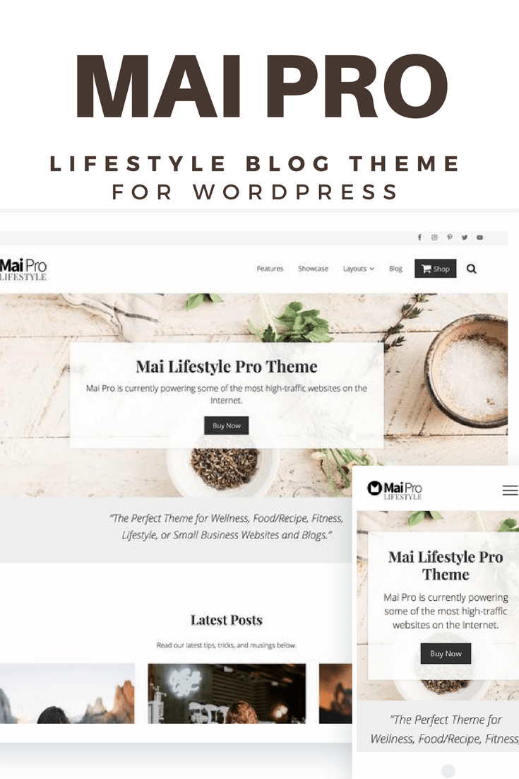Mai Pro is the perfect WordPress theme for wellness, food, recipe, fitness, or lifestyle bloggers. Check out Mai pro lifestyle theme!